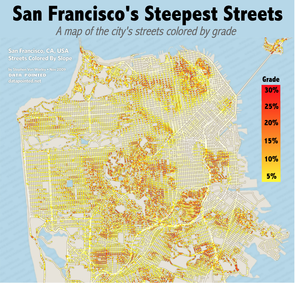 Map, Modified Slightly, Via Stephen Von Worley (data Pointed); White  Streets Are At Sea Level