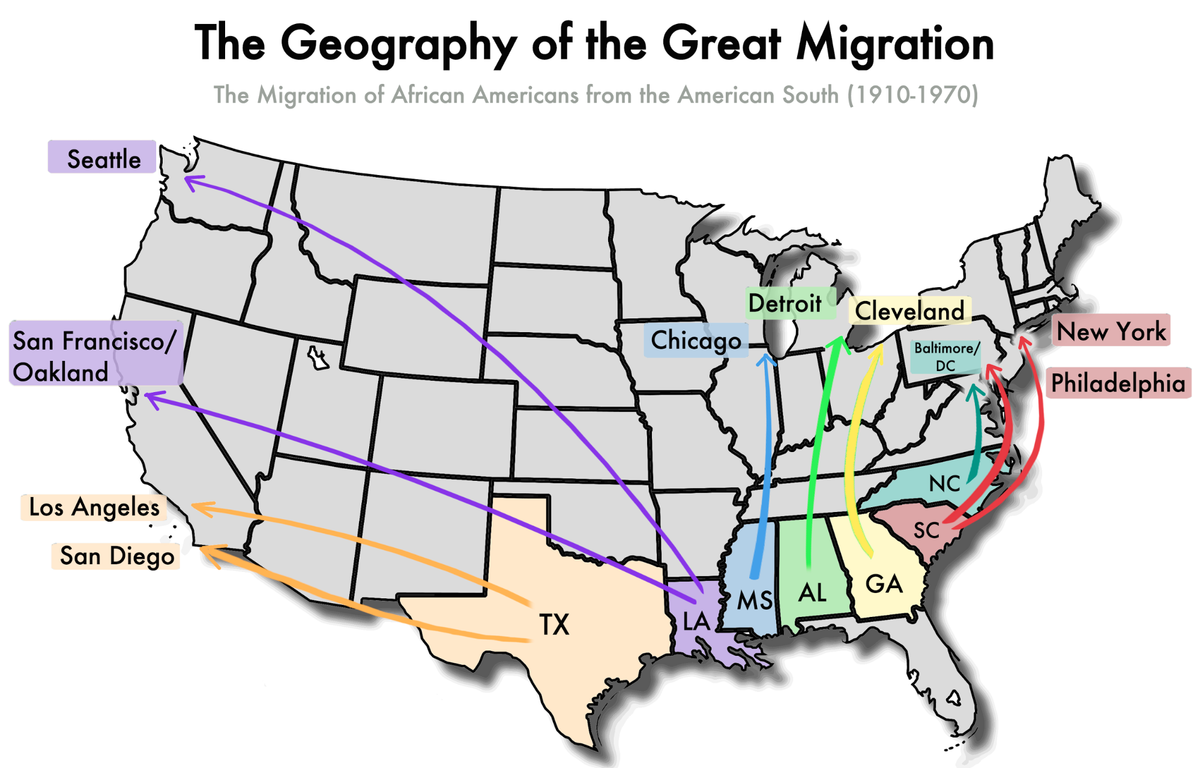 The Great Migration The African American Exodus From The South - Map of united states during reconstruction