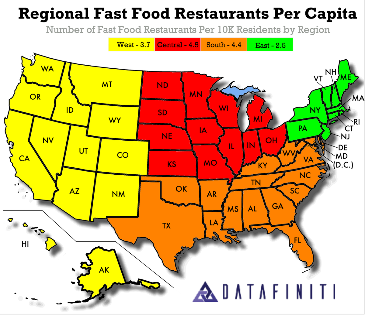 Ranking the Places with the Most (and Least) Fast Food in America
