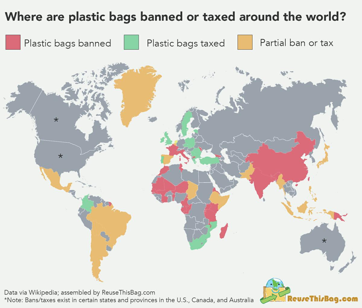 Where are Plastic Bags Banned Around the World?