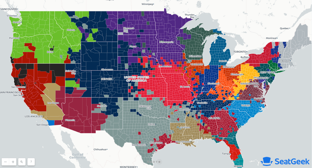 Where Do NFL Fans Live? Mapping Football Fandom Across the U.S. on usa map dallas cowboys, usa map history, usa map football,