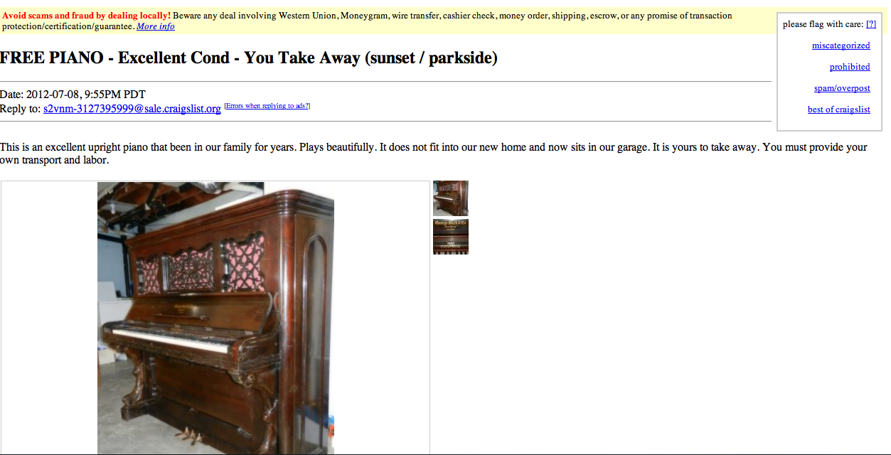 The Price of a Used Piano